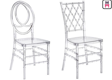 Resin Chiavari Plastic Restaurant Chairs PC Transparent Armless For Bar / Cafe