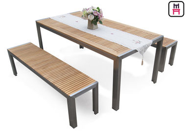 Plastic Wood Outdoor Restaurant Tables Commercial KD Patio Dining Sets With Bench