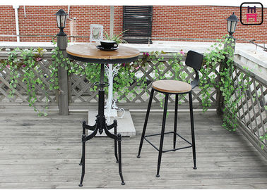 Metal Base Adjustable Height Restaurant Bar Tables Round  Shape Loft Style Solid Wood