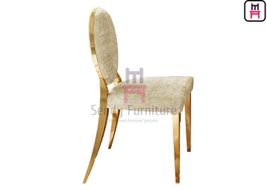 Gold / Silver / Chrome Stainless Steel Restaurant Chairs Leather / Velvet Round Back