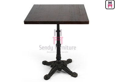 Solid Wood Top Restaurant Dining Table 3 / 4 Feet Casting Iron Tiger Paw Design